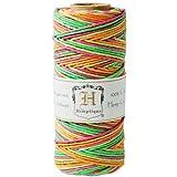 Hemptique - Bobina de hilo de cáñamo de fuerza media (50 gramos, 62,5 m, 1 mm de grosor aproximado, 20 lb), multicolor