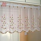 GUOCAIRONG® Tulle Vorhänge Koreanische Hirten Art Blumenstickerei Spitze Half-Curtain Bay Fenster Tüll Vorhang 1 Stk , 75*150cm