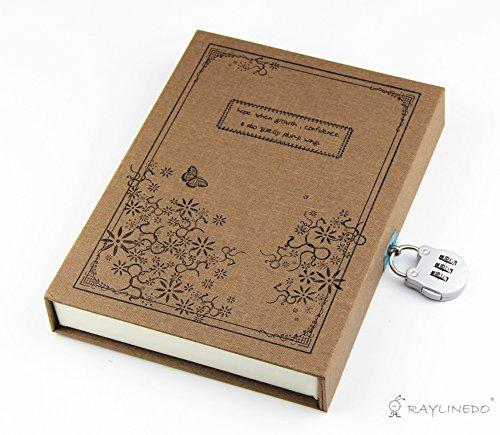 Vintage Kaffee Tagebuch Notizbuch Journal Notizbuch Hardcover mit Codeschloss Geschenk Kasten Kaffee