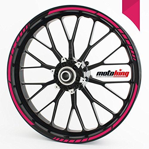 Felgenrandaufkleber GP im GP-Design passend für 17 Zoll und 16″ 18″ 19″ Felgen für Motorrad, Auto & mehr – Pink