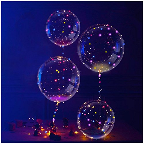 Slopow LED Bobo Globos Transparente 4 Piezas con LED Globos de Látex Decoración para Cumpleaños Fiesta Boda Navidad Muticolores