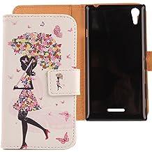 Lankashi PU Flip Funda De Carcasa Cuero Case Cover Piel Para Sony Xperia T3 Umbrella Girl Design