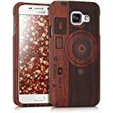 kwmobile Coque en bois véritable avec Design caméra pour Samsung Galaxy A3 (2016) en bois de rose brun foncé
