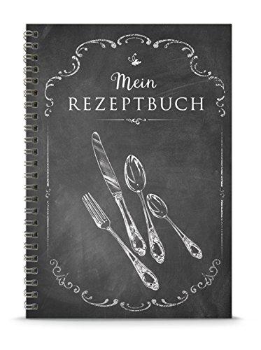 """KREATIV DIY KOCHBUCH -""""Mein Rezeptbuch"""" • Schwarz anthrazit im""""Kreide-Tafel-Retro-Vintage-Look"""" • liniert, mattes Papier, DIN A5 Spiralgebunden, 148,5 x 210 mm"""