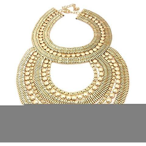 Unico con doppia goccia Multi-Strand-Collana in oro bicolore