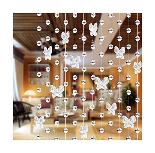 LinTimes 1pcs Cadena de cristal de ventana cortina boda fondo, transpa