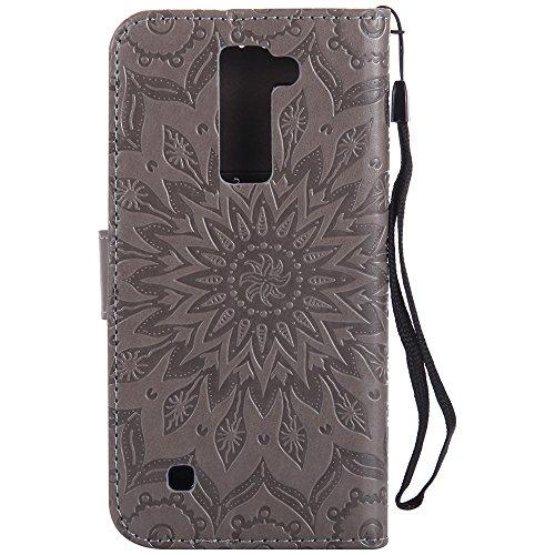Für LG K8 Fall, Prägen Sonnenblume Magnetic Pattern Premium Soft PU Leder Brieftasche Stand Case Cover mit Lanyard & Halter & Card Slots ( Color : Gray ) Gray