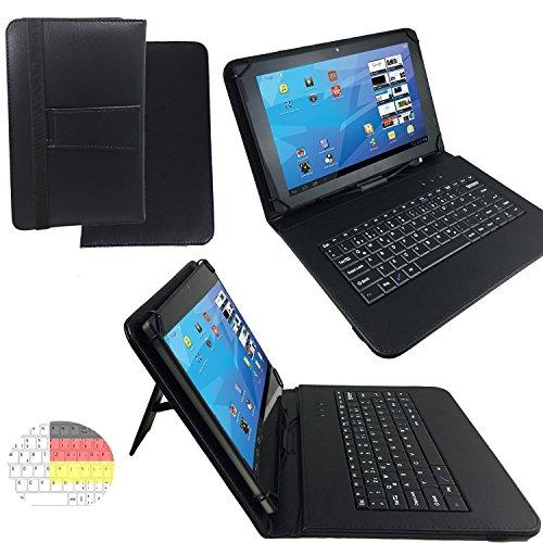 XIDO X111 - Qwertz Tastatur Tablet Tasche 10.1 mit Standfunktion - Deutsche Tastenbelegung - 10.1 Zoll Schwarz Tastatur