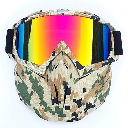 zbrillen Brille Abnehmbare Gesichtsmaske Helm Nebelfest Winddicht Fahrradbrille zum Offroad Reiten Passen Männer Frau (Latex-schaum-halloween-masken)