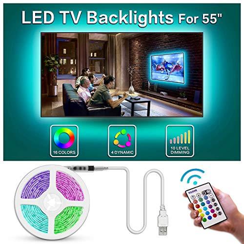BASON Led Strip,LED Streifen, USB LED TV Hintergrundbeleuchtung Fernseher, 11.29ft/344cm Led Leiste mit Fernbedienung, RGB Led Beleuchtung für 55 Zoll TV/Wandhalterung Cinema Dekoration Led Stripes. -