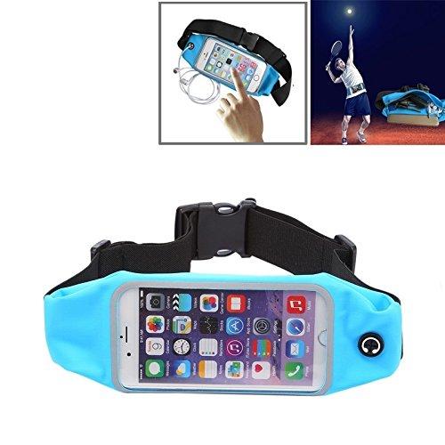 Wkae Case Cover Wasserdichte Sport-Taillen-Beutel-Beutel mit Kopfhörer-Loch für iPhone 6 &6s ( Color : Red ) Blue