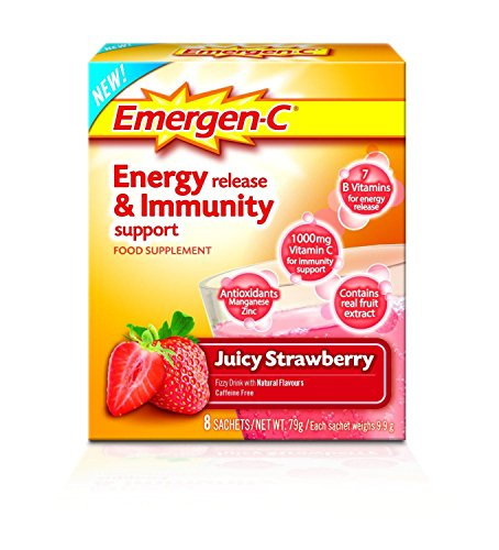 EMERGEN-C Juicy Strawberry Energy Release & Immunity Support Food Supplement 8 Sachets – 2 Pack
