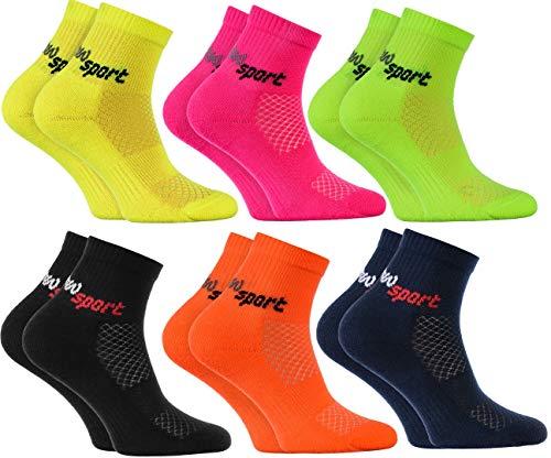 Rainbow Socks - Jungen und Mädchen Neon Sneaker Sportsocken - 6 Paar - Mehrfarbig - Größen: EU 30-35