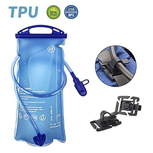 OFUN 2L trinkblase mit Beissventil, Trinkbeutel mit Großer Öffnung Sport Wasserblase BPA-frei LFGB Geprüfter auslaufsicher Trinksystem + Clip ideal für Rucksack Radfahren Campen