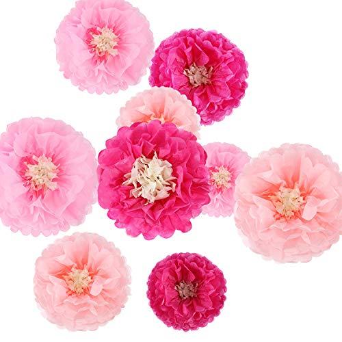 9 Stück Papierblumen Seidenpapier Pompons Chrysanth Blumen DIY Basteln für Hochzeit Kulisse Kinderzimmer Wanddekoration