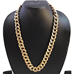 Jewels Galaxy Broad 18Kt Sachin Gold Plated Chain for Men