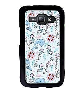 Fuson Premium 2D Back Case Cover Cute Dolphin With Multi Background Degined For Samsung Galaxy J1::Samsung Galaxy J1 J100F