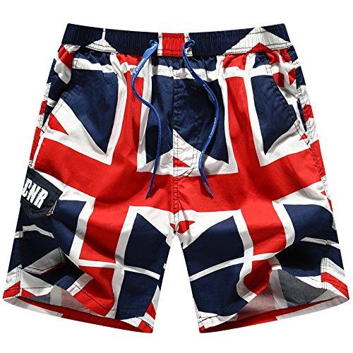 HOOM-Nouveau pantalon de plage d'été occasionnels Shorts hommes Camo coton taille lâche cinq pantalons shorts Red