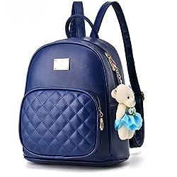 Flada PU mochilas de cuero para niñas casual Daypacks escuela mochilas con adornos osito de peluche