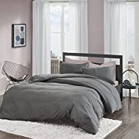 Non-Iron Plain Brushed Duvet Cover Set king Size - 2 Pcs Ultra Soft Hypoallergenic Microfiber Quilt Cover Sets - Grey