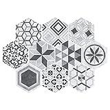 F Fityle 10 Stück 3D Mosaik Hexagon Fliesenaufkleber Wandaufkleber Küche Bad Fliesenfolie Klebefolie, Farbwahl - grau