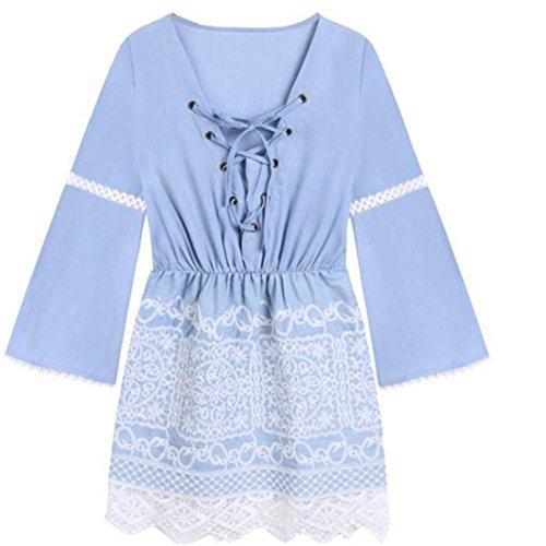 Frauen Sexy Kleider, brezeh Schulter lange Ärmel Kleid Casual Kleider XL blau (V-hals-knoten Ärmellos)