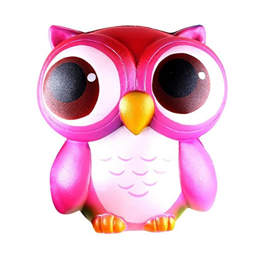 Foto de Juguetes de descompresión suave, LILICAT® 15cm Precioso Galaxy / búho rosa perfumado Squishy Lento aumento Squeeze Toys Collection Crema de aumento perfumado juguetes de descompresión Juguetes de compresión de silicona Juguetes para bebés y adultos (Rosad