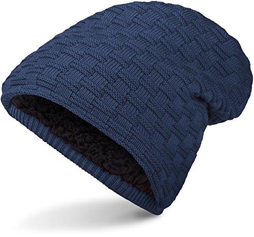 Warme Feinstrick Beanie Mütze mit Flecht Muster Grobstrick und sehr weichem Innenfutter, Unisex (Dark Blue)