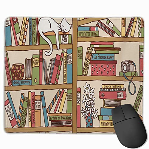 Nerd Book Lover Kitty Sleeping Over Bookshelf in Library Personalized Design Mauspad Gaming Mauspad with Stitched Edges Mousepads, Non-Slip Rubber Base, 300 x 250 x 3 mm Thick - Best Gift Idea