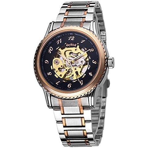 Grande quadrante orologio meccanico/Cava orologio meccanico automatico/Impermeabile orologio da uomo in acciaio-C