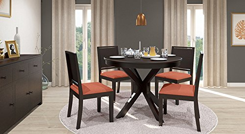 Urban Ladder Liana FNDNMHMOB083001 Four Seater Dining Table Set (Mahogany Finish, Burnt Orange)