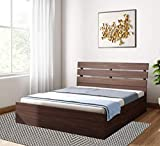 Liza Wood Queen Size Engineered Wood Bed with Storage (Wenge Matte Finish)