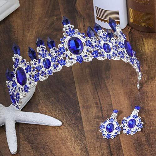 NJSdd Neue Hochzeit Haarschmuck Grün Blau Kristall Braut Festzug Tiara Große Strass Kronen Diadem Für Braut, Silber Blau