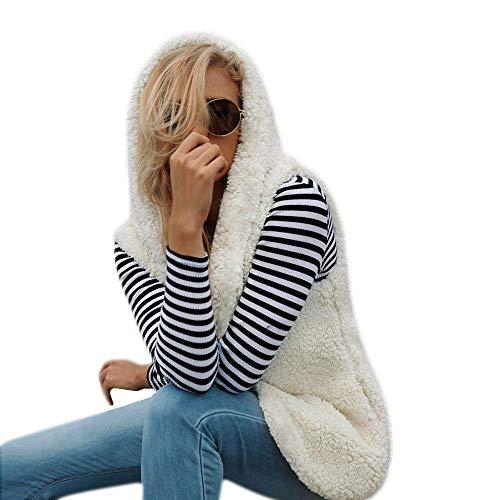 Innerternet Damen Faux Pelz Weste Ärmellose Lange Jacke Vest Kunstpelz mit Kapuzen Winter Herbst Pelzmantel Fellweste Mäntel Kapuzenpullover