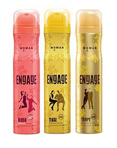 Engage Blush and Tease Deo with Free Tempt Deo, 150ml (Buy 2 get 1 Free)