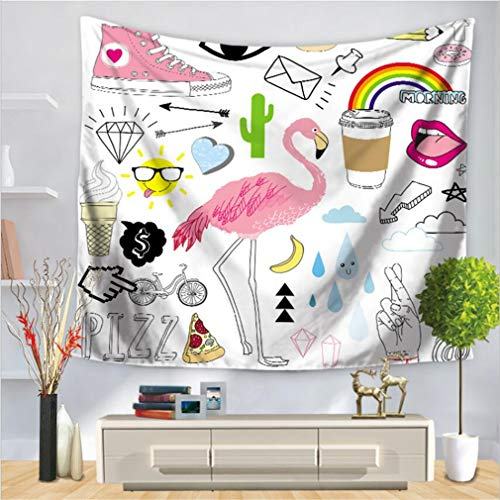 baisheng Mandala Indio Colgante de Pared Tapicería Hippie Tapices Ropa de Cama Colcha, Playa de Picnic, Mantel, Colgante Decorativo (Planta Tropical Flamingo Series 3-59x78 Inch/150x200 CM)
