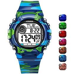 Azland 7colores intermitente, 3alarmas de múltiples recordatorio deportes niños reloj de pulsera impermeable niños niñas Digital Relojes camuflaje
