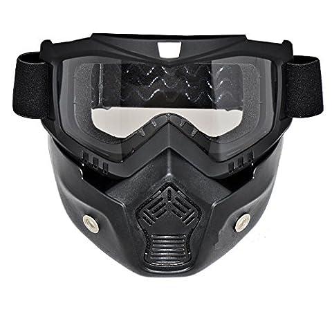 LEAGUE&CO Masque Noir et Lunette Pour Moto Casque Ride MOTO Protection de Visage En TPU Réglable (Lentille transparente)