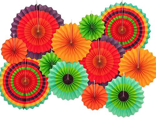12 Papierfächer Mexikanische Fiesta/Cinco De Mayo/Karneval/Kinderparty Hängedekoration