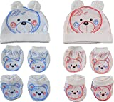 BornBabyKids New Born Baby Cotton Caps Booties Mittens Combo Set (0-6 Month)
