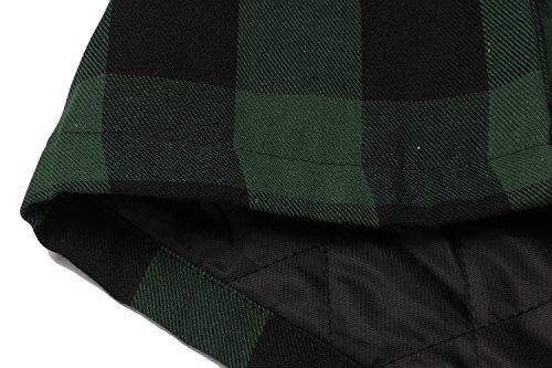 BURLADY Hemd Herren Kariert innenfutter Winter Holzfällerhemd Thermohemd Hemdjacke Winterjacke Mantel Armee Grün