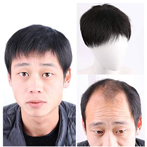 Herrenhaar-Ersatzsystem mit dünner Hautbasis Perücke Echte Haarteile Schwarze Kunstfaser