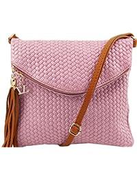 Tuscany Leather TL Bag - Sac bandoulière en cuir imprimé à chevron avec pompon Sacs à bandoulière en cuir