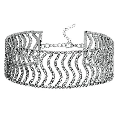 Epinki Choker Mujer (Ajustable) Collar Patrón Onda Florido Cadena Collar Tatuaje Plata 31CM Circonita Epinki