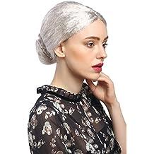WIG ME UP ® - 2405-PC309 Perruque dames carnaval grand-mère Ballerine gouvernante argent gris chignon