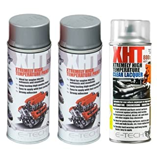 E-Tech 400ml XHT VHT Very High Temperature Paint 2 x SILVER 1 XHT Clear Lacquer for Car Engine Block Exhaust Metal Surface