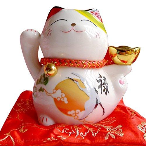 Tgfer 10,2cm Weiß Keramik Maneki Neko Lucky Cat Coin Bank 4