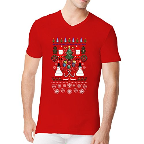 Fun Sprüche Männer V-Neck Shirt - Pixelige Weihnachten by Im-Shirt Rot