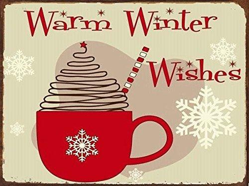 KellyPlaques Metallschild, warme Winterwünsche, Pfefferminz-Leckerei, heiße Schokolade, Weihnachten, Urlaubsdekoration