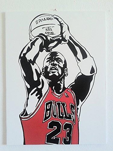 Michael Jordan–MJ–Basket–Modernes Bild–Holzplatte MDF handbemalt–Pop Art Effect (Format 40x 30cm) (Home Celtic Trikot)
